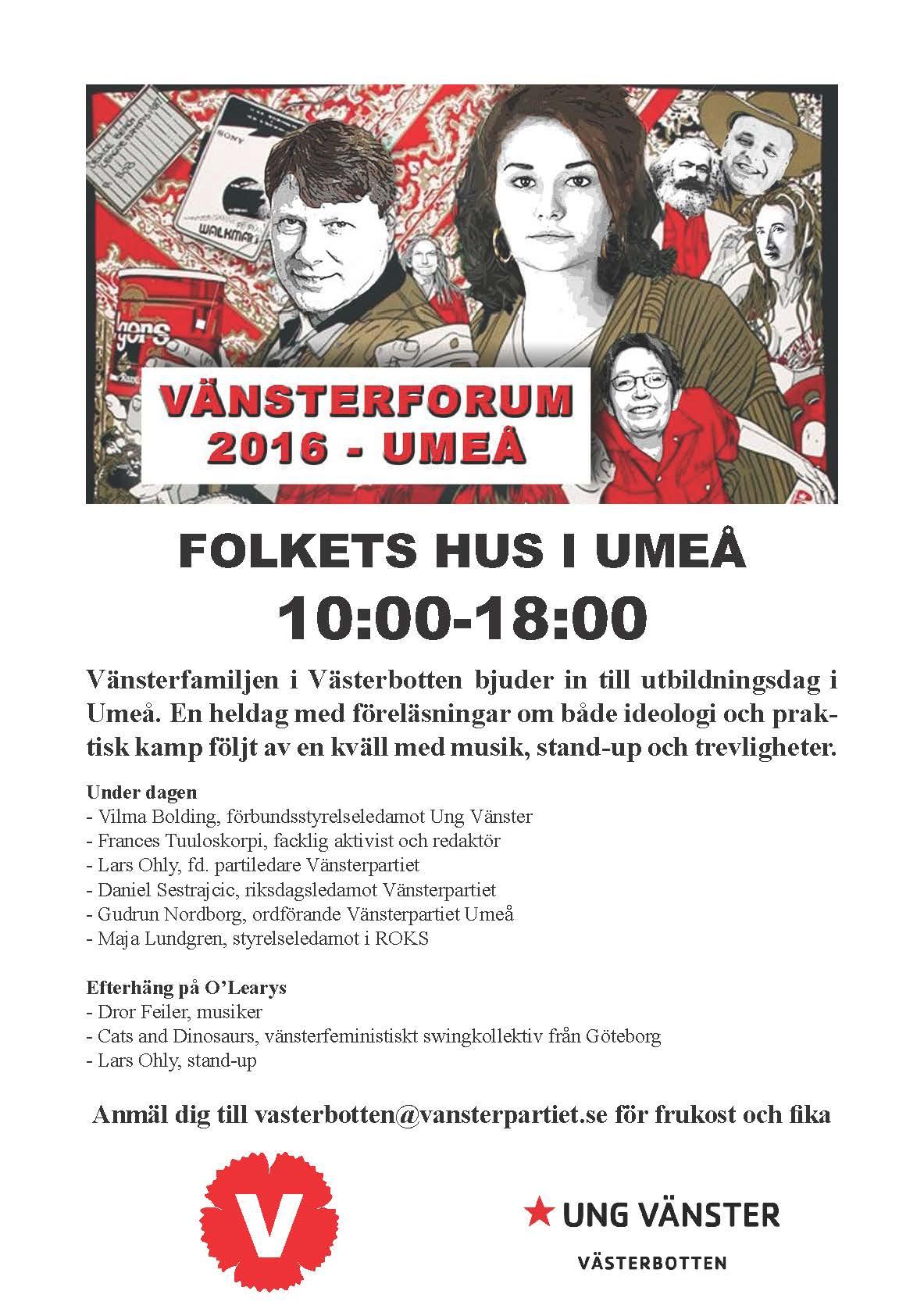 Inbjudan Vänsterforum 2016